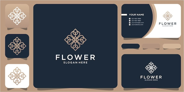 Kobiece piękno kwiat abstrakcyjny luksusowy wzór szablon i wizytówka