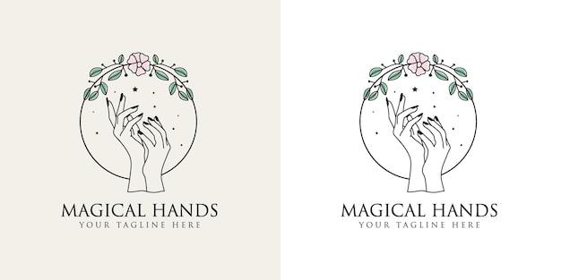 Kobiece piękno logo boho z kobiecą dłonią z kwiatowym wieńcem i gwiazdkami