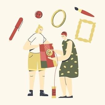 Kobiece postacie s szycie ubrań ilustracja