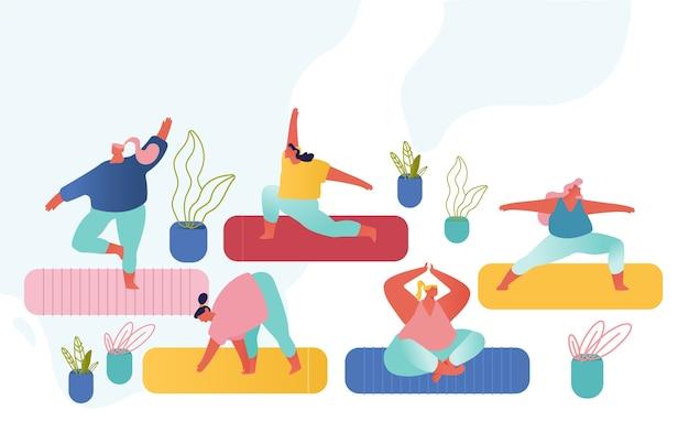 Kobiece postacie zajęcia jogi i zestaw zajęć sportowych.
