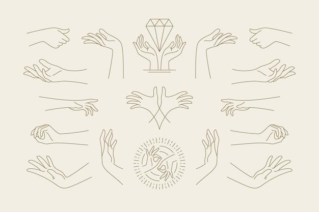 Kobiece ręce gesty zbiór ilustracji wektorowych ręcznie rysowane stylu sztuki linii