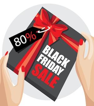 Kobiece ręce trzymając prezent owinięty czerwoną wstążką... czarny piątek sprzedaż transparent. ilustracja wektorowa.