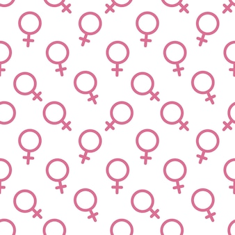 Kobiece seks symbol ikona tło wektor wzór. wzór symbolu płci kobiet