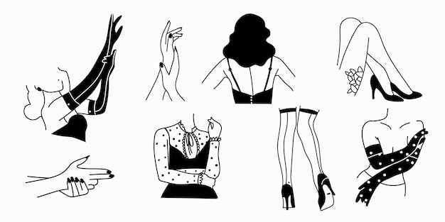 Kobiece sylwetki erotyczne na białym