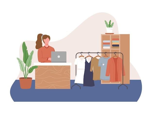 Kobiece ubrania zakupy wnętrza sklepu