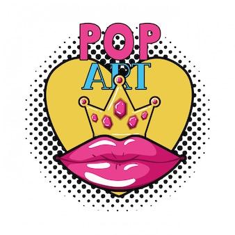 Kobiece usta ikona stylu pop-art na białym tle