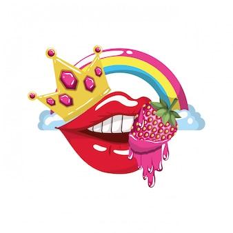 Kobiece usta kapie z owoców truskawki