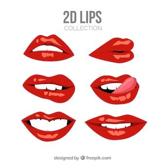 Kobiece usta kolekcji w stylu 2d