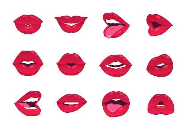 Kobiece usta. kreskówka sexy kobieta uśmiech, otwarte usta zamknięte i buźkę, czerwone usta na białym tle. wektor usta pocałunek gest i makijaż, uśmiechnięta dziewczyna wargi obrazu