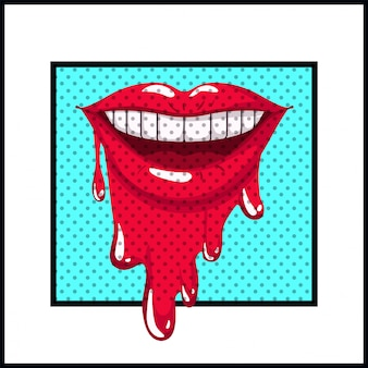 Kobiece usta ociekające stylem pop-artu