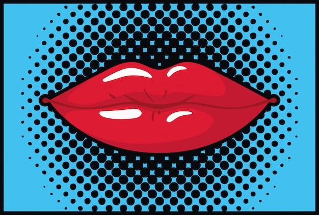 Kobiece usta stylu pop-art