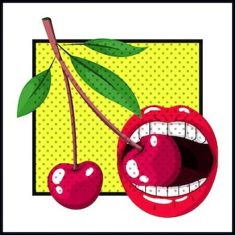 Kobiece usta ugryzienie wiśniowy styl pop-artu