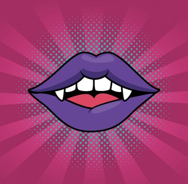 Kobiece usta wampira w stylu pop-art