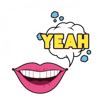 Kobiece usta z dymek na białym tle ikona