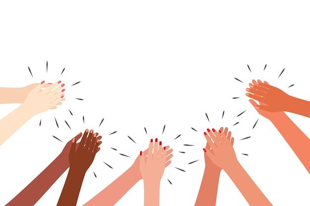 Kobiece wielokulturowe ręce biją brawo kobiety klaszczą pozdrowienia dzięki wsparciu