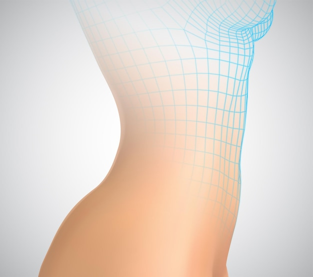 Kobiecego ciała na białym tle. fotorealistyczna siatka