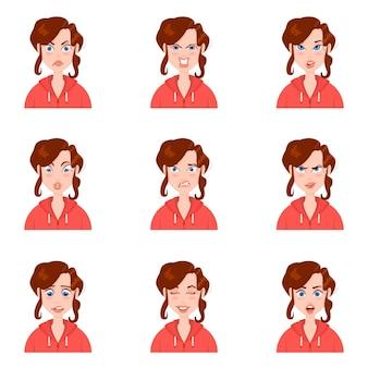 Kobiecy awatar z emocjami stylu cartoon.