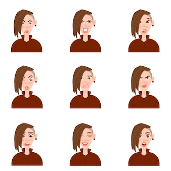 Kobiecy awatar z stylu cartoon emocje.