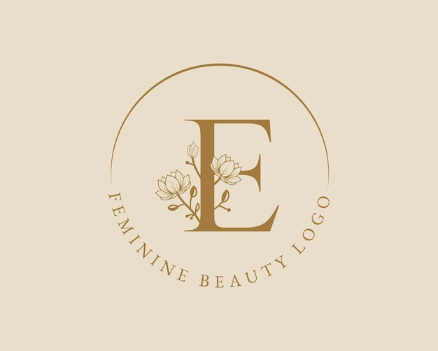 Kobiecy botaniczny list e początkowy szablon logo wieniec laurowy na ślub w salonie piękności spa