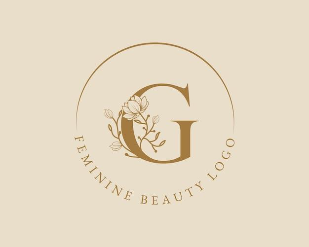 Kobiecy botaniczny litera g początkowy szablon logo wieniec laurowy na ślub w salonie piękności spa