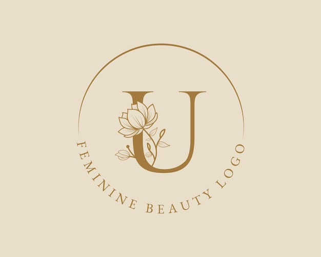 Kobiecy botaniczny u list początkowy szablon logo wieniec laurowy dla karty ślubnej w salonie piękności spa