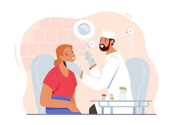 Kobiecy charakter stosowania zastrzyków urody w gabinecie kosmetologa. kobieta dostaje zabiegi kosmetyczne botox lub pilniki w salonie. kosmetologia estetyczna lekarza i klienta. ilustracja wektorowa kreskówka ludzie