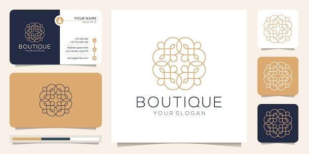 Kobiecy i abstrakcyjny butik z logo w stylu linii.