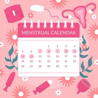 Kobiecy kalendarz menstruacyjny koncepcja