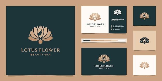 Kobiecy kwiat lotosu i kobiety stoją w obliczu projektu logo i wizytówki symbolu naturalnego