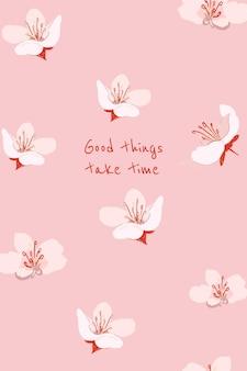 Kobiecy kwiatowy transparent szablon wektor sakura ilustracja z inspirującym cytatem