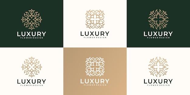Kobiecy, luksusowy kwiat ręcznie rysuje kolekcję projektów logo