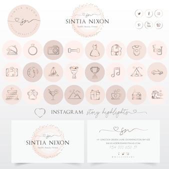 Kobiecy projekt logo i nowoczesny zestaw ikon