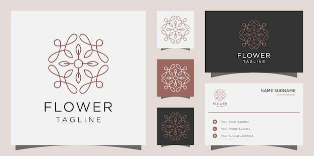 Kobiecy salon kosmetyczny i logo w kształcie linii spa. projekt logo kwiat, ikona i szablon wizytówki