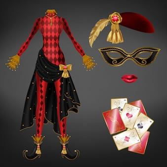 Kobiecy żartowniś, realistyczny garnitur arlekin