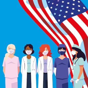 Kobiet lekarki z mundurami i maskami z usa flaga wektorowym projektem