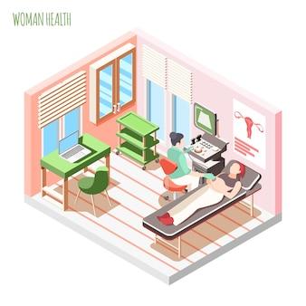 Kobiet zdrowie isometric skład z kobiety lekarką i kobietą kłaść na leżance podczas ultradźwięku sprawdza wektorową ilustrację