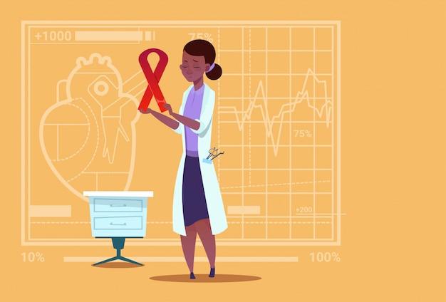 Kobieta african american doctor hold cancer ribbon zapobieganie chorobom medical clinic worker hospital