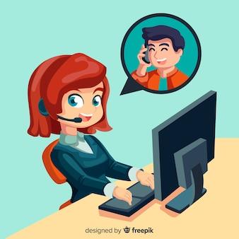 Kobieta agent call center koncepcji