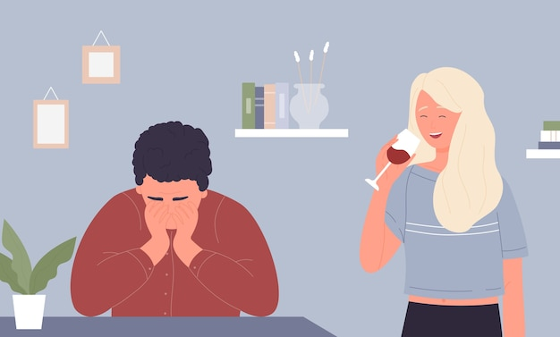 Kobieta alkoholizm wina, kreskówka nieszczęśliwy mężczyzna siedzi, postać kobieca trzyma kieliszek z alkoholem czerwonego wina