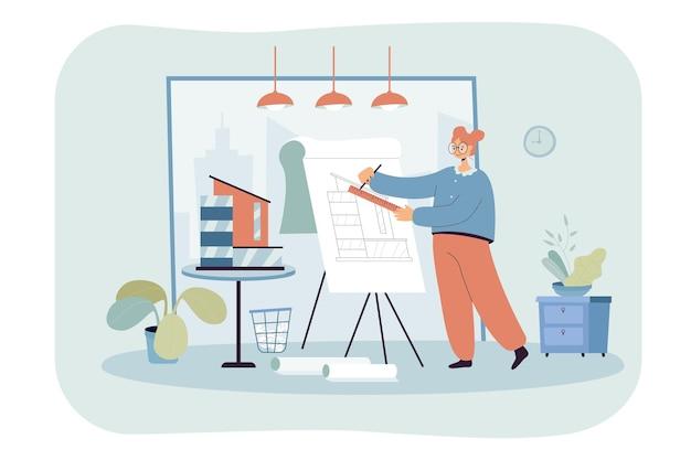 Kobieta architekt pracujący w studio płaskiej ilustracji