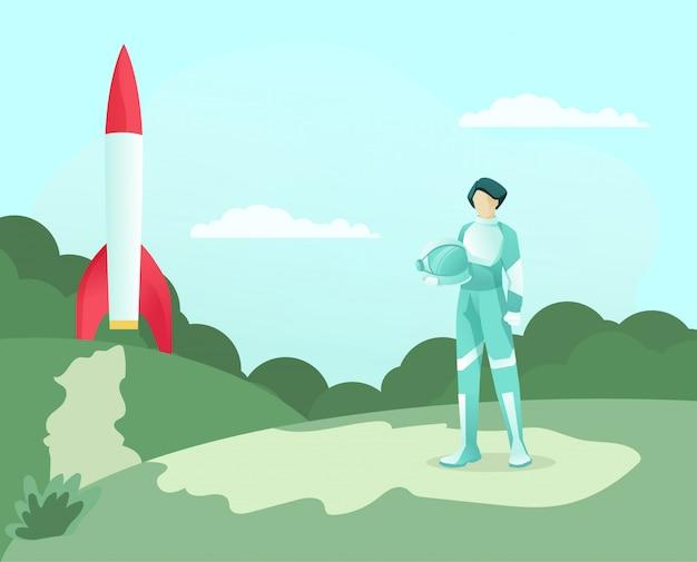 Kobieta astronauta w mundurze trzymaj hełm i rakietę