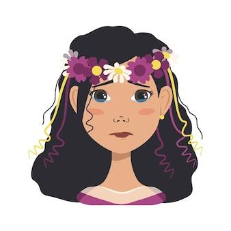 Kobieta avatar z czarnymi włosami i wieniec z wiosennych lub letnich kwiatów. dziewczyna ze łzami w oczach. ludzka twarz z uśmiechem. ilustracja wektorowa