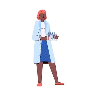 Kobieta badacz laboratorium lub asystent ilustracja kreskówka wektor na białym tle