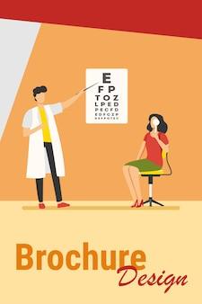 Kobieta badająca oczy przy pomocy okulisty. okulista, list, szpital płaski wektor ilustracja. koncepcja medycyny i opieki zdrowotnej