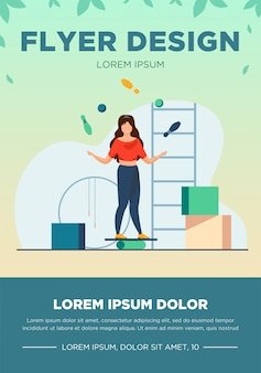 Kobieta balansująca i żonglująca kręgle i piłki. siłownia, cyrk, kuglarz płaski wektor ilustracja. koncepcja wydajności i szkolenia