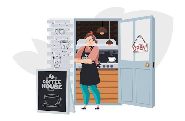Kobieta barista w mundurze pracującym w kawiarni kawiarni koncepcja pełnej długości poziomej wektorowej