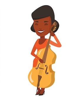 Kobieta bawić się wiolonczelową wektorową ilustrację.