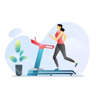 Kobieta biega na bieżni w domu koncepcja zdrowego stylu życia sport trening fitness premium ve