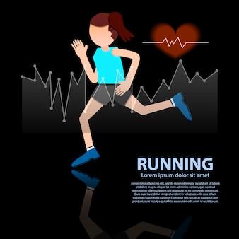 Kobieta biegania stylu życia zdrowa postać z słucha tempo na czarnej tło wektoru ilustraci