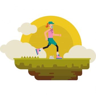 Kobieta biegnie sama rano